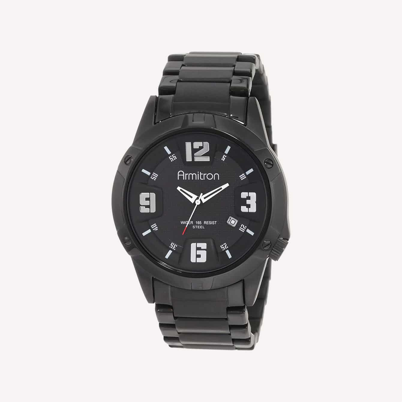 Armitron Men_s 204692BKTI Black Plated Stainless Steel and Black Dial Dress Watch