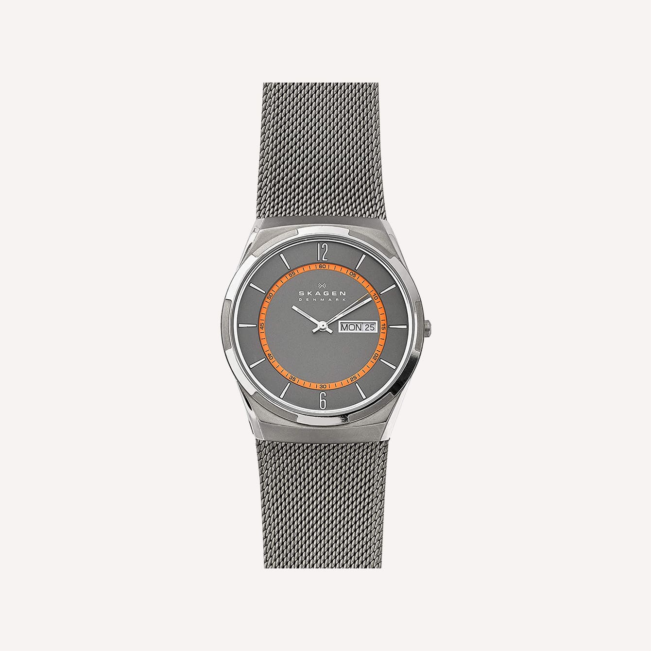 Baton and Stick Hands Skagen Melbye Three Hand Watch with Stainless Steel Mesh Band