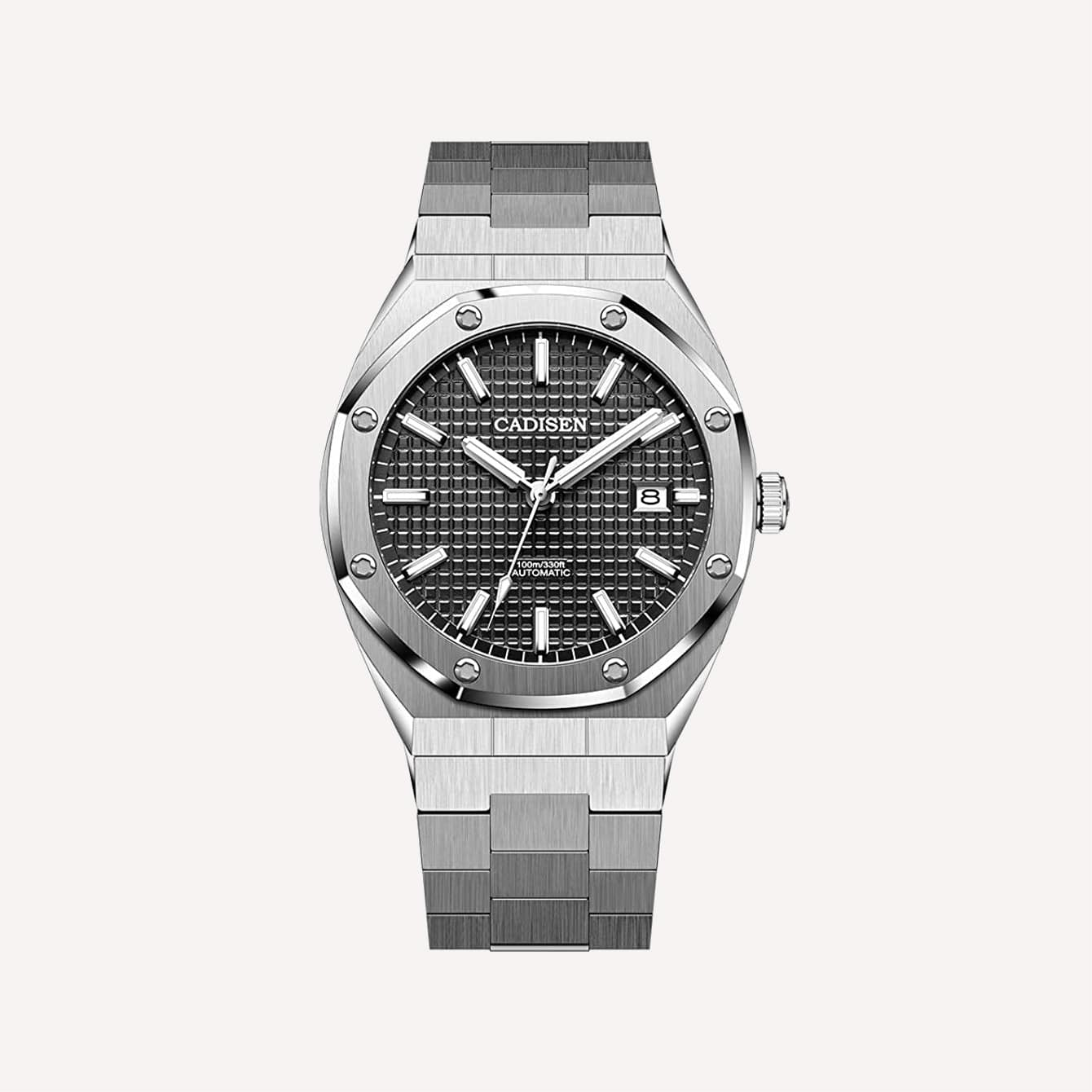 CADISEN 8180 Fashion Casual Mens Watch Stainless Steel 42MM Dial Japan NH35A Waterproof 100M
