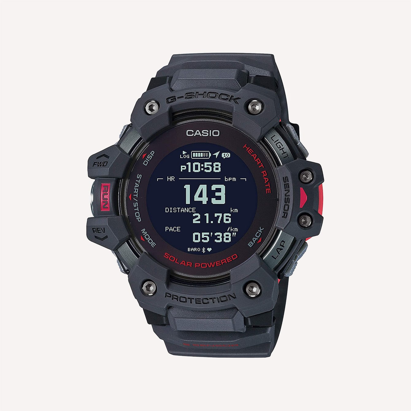 Casio Men_s G Shock Move GPS Heart Rate Running Watch Quartz Solar Assisted GBD H1000 8CR