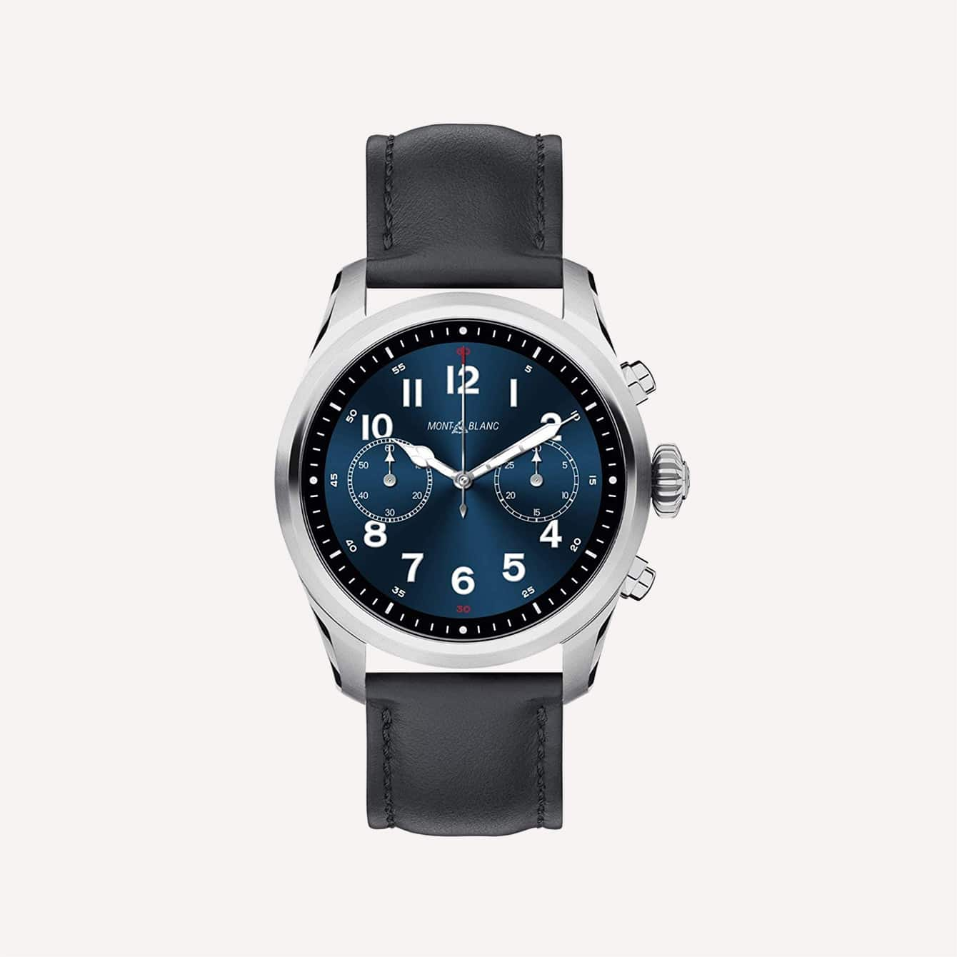 Cathedral Hands Watch Montblanc Summit 2 Smartwatch 119440 Stainless Steel Black Leather