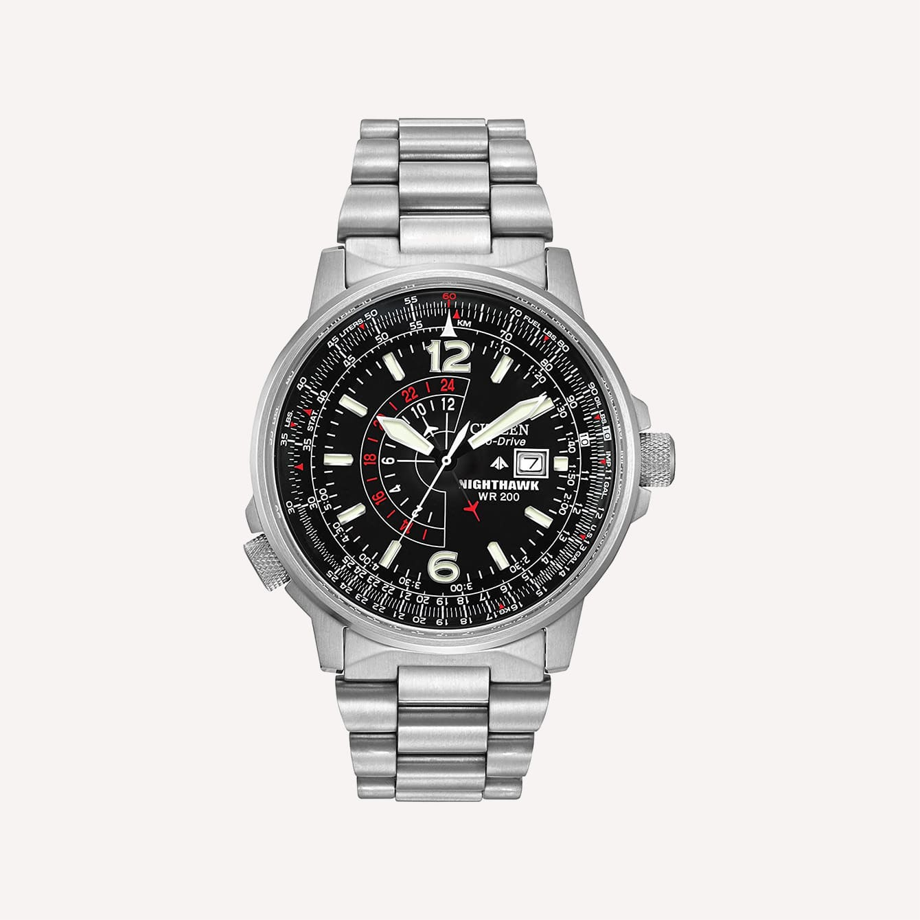 Citizen Men_s Eco Drive Promaster Nighthawk Dual Time Watch with Date BJ7000 52E