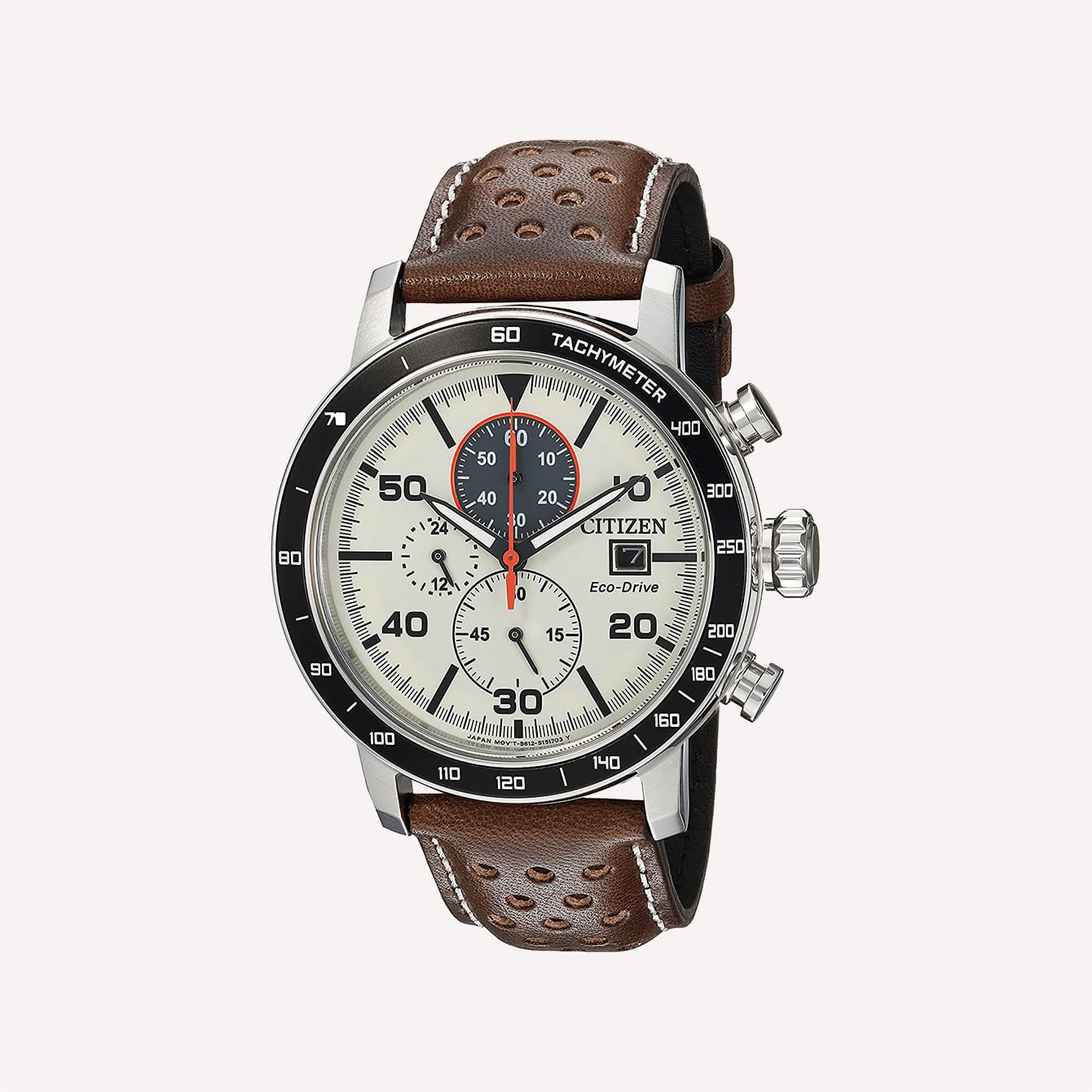 Citizen Men_s _Eco Drive_ Quartz Stainless Steel and Leather Casual Watch