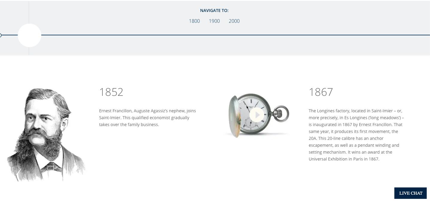 Longines history webpage