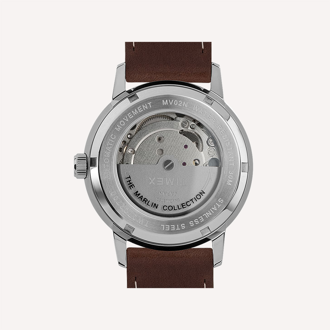 MARLIN AUTOMATIC 40MM LEATHER STRAP WATCH BACK SIDE
