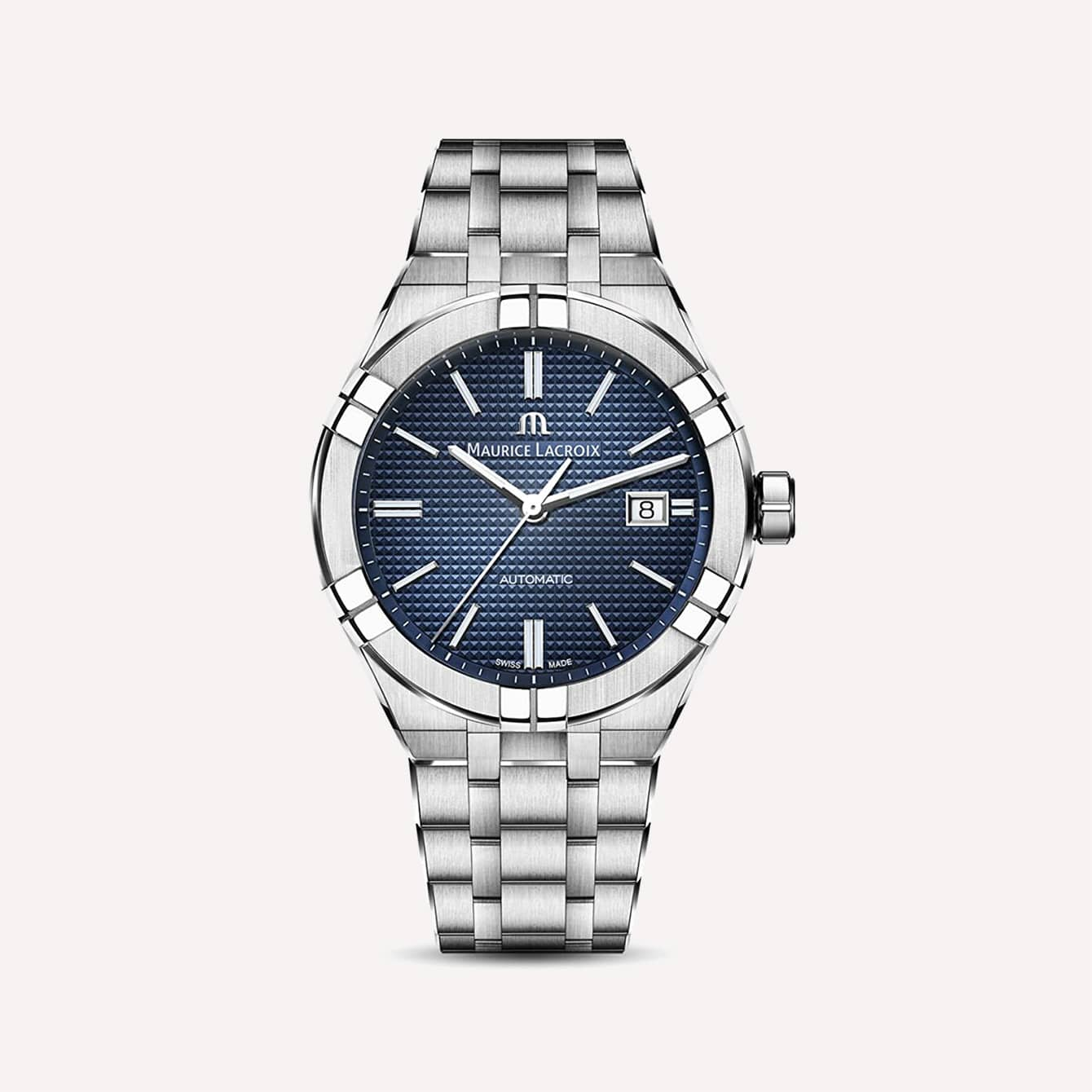 Maurice Lacroix Mens Aikon Automatic 42 mm Watch Blue Silver
