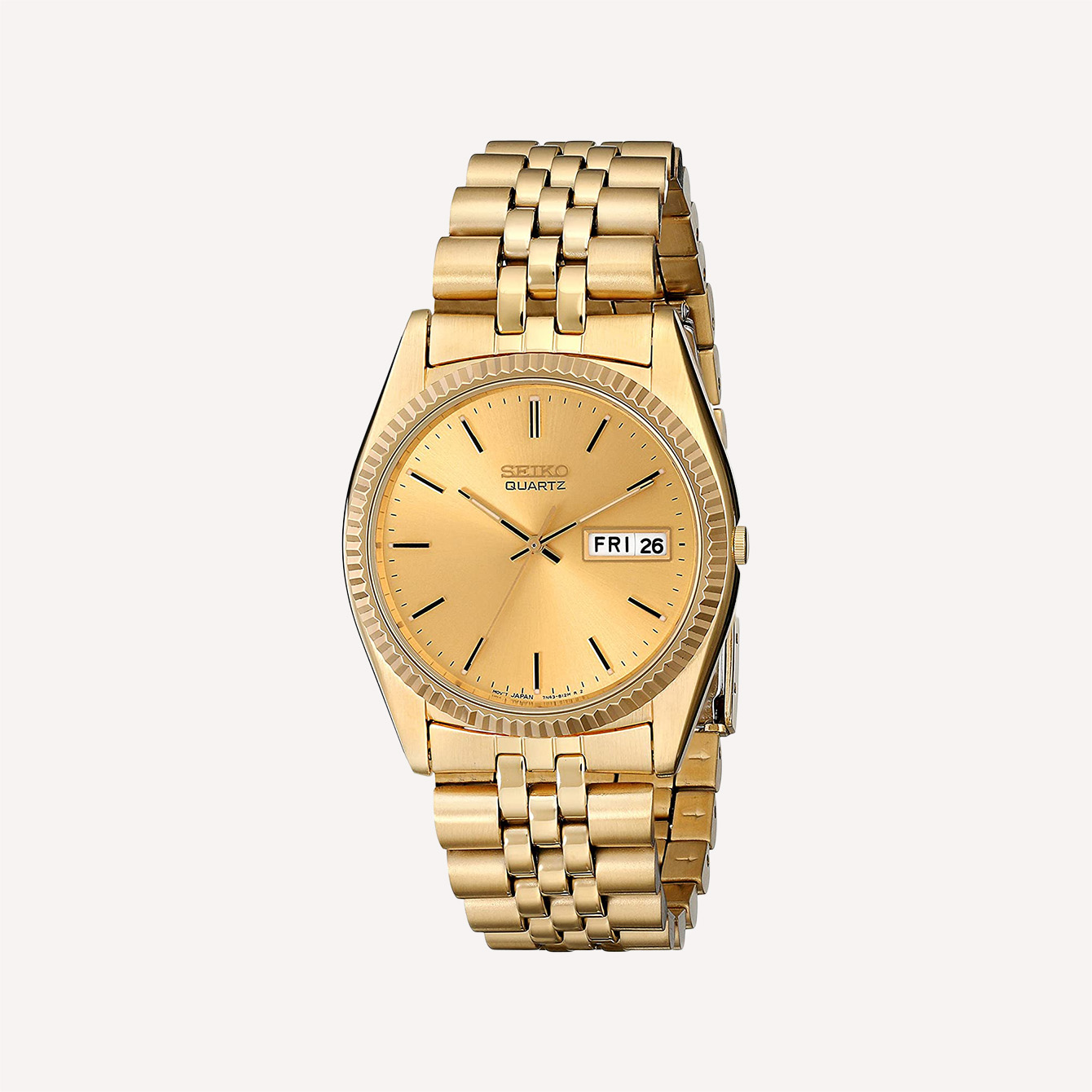 Seiko Men_s SGF206 Gold Tone Stainless Steel Dress Watch