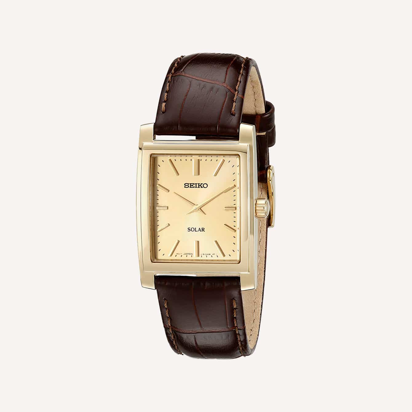 Seiko Men_s SUP896 Gold Tone and Brown Leather Solar Power Dress Watch