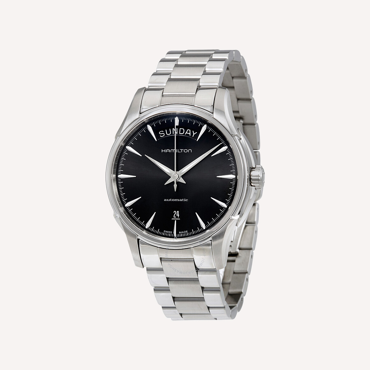 hamilton jazzmaster black dial stainless steel men_s watch h32505131